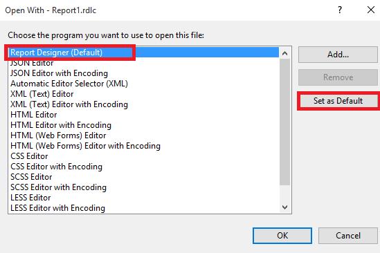 RDLC Report Designer in Visual Studio Community 2015