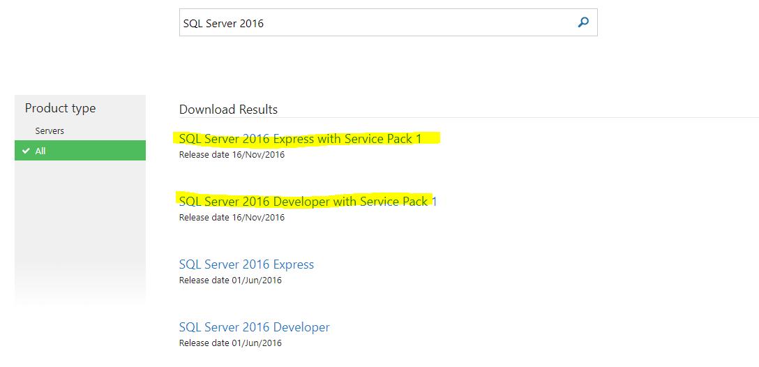download sql server 2016 express