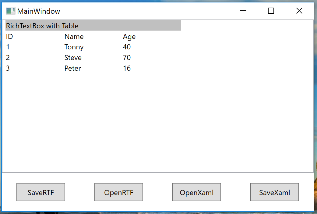 wpf c# I have a problem with the table resizing  If you save