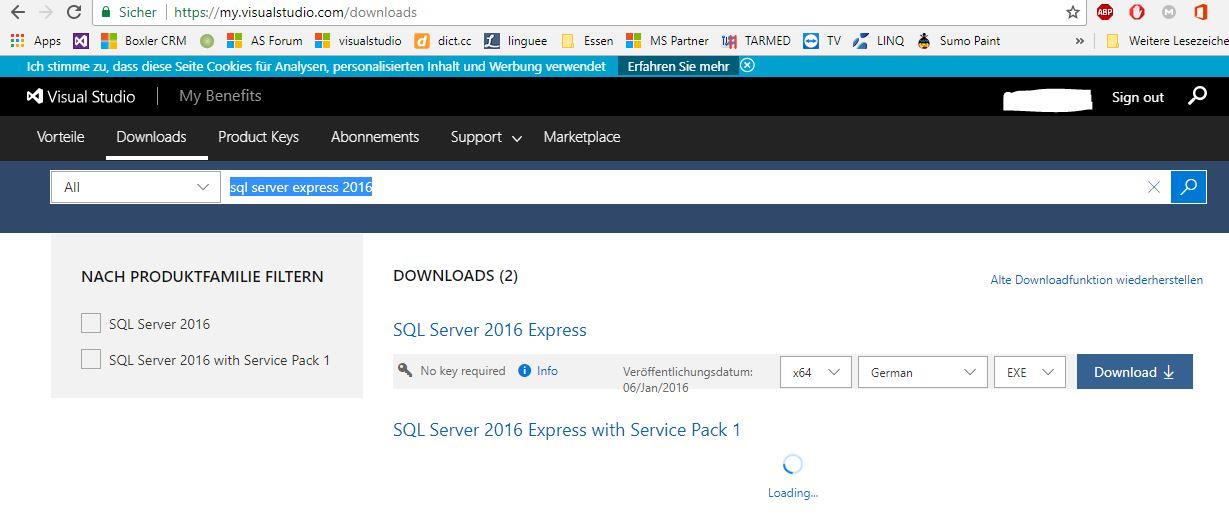 SQL Server 2016 Express loading notice