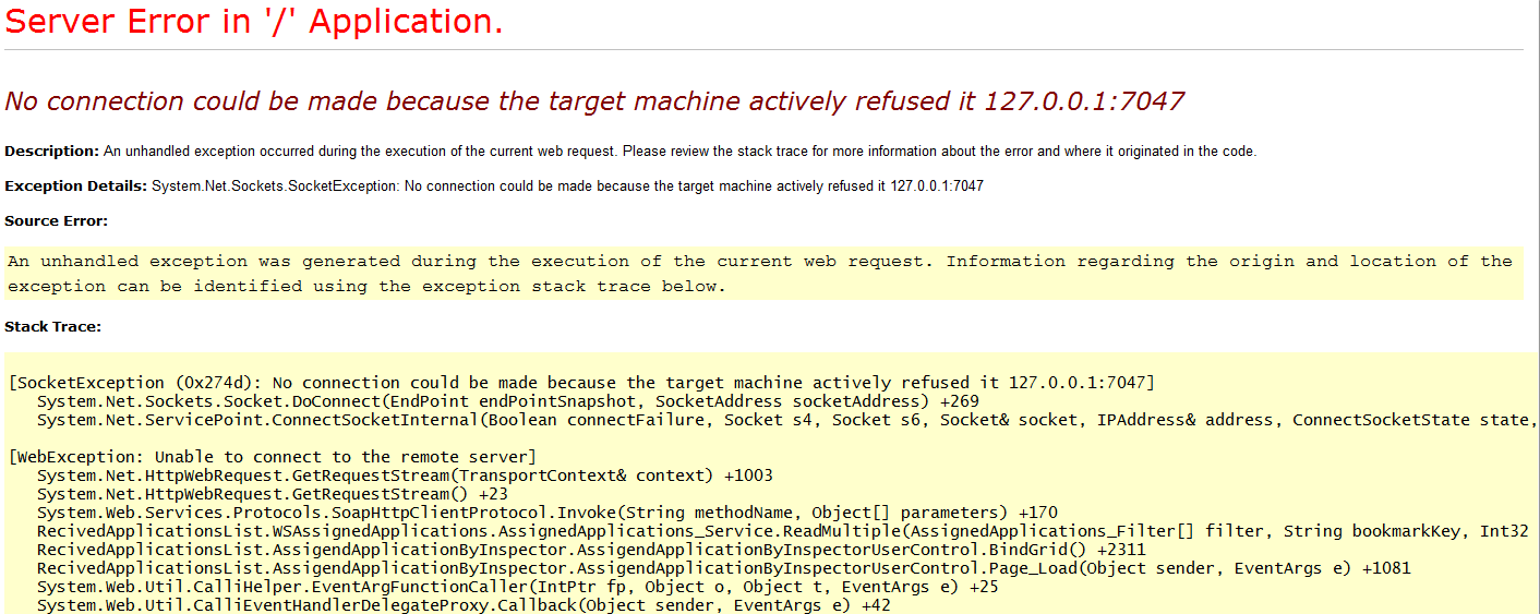 no connection could be made because the target machine actively refused it 127 0 0 1 web service