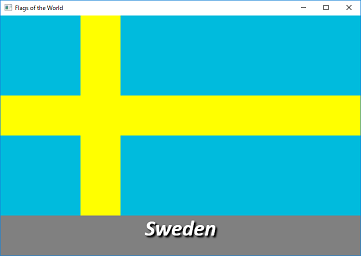 Screen shot of a program Flags of the World