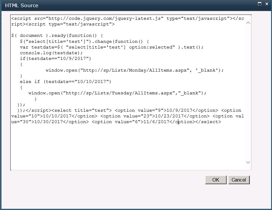 Create drop down menu list on SharePoint site main page