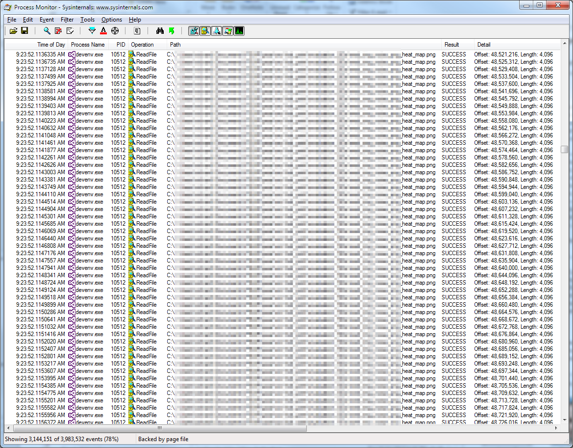Screenshot of procmon showing devenv.exe reading arbitrary files.