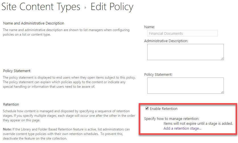 Create Retention Policies Based On Manage Metadata Column