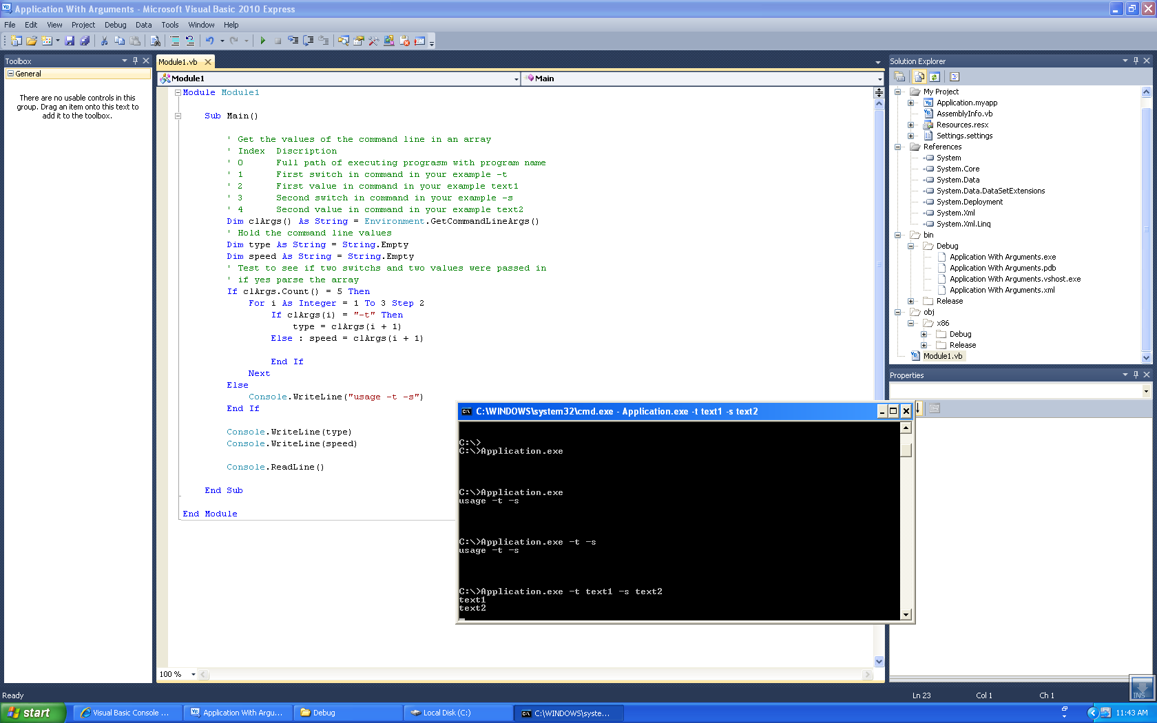 Visual Basic Console Application With Arguments