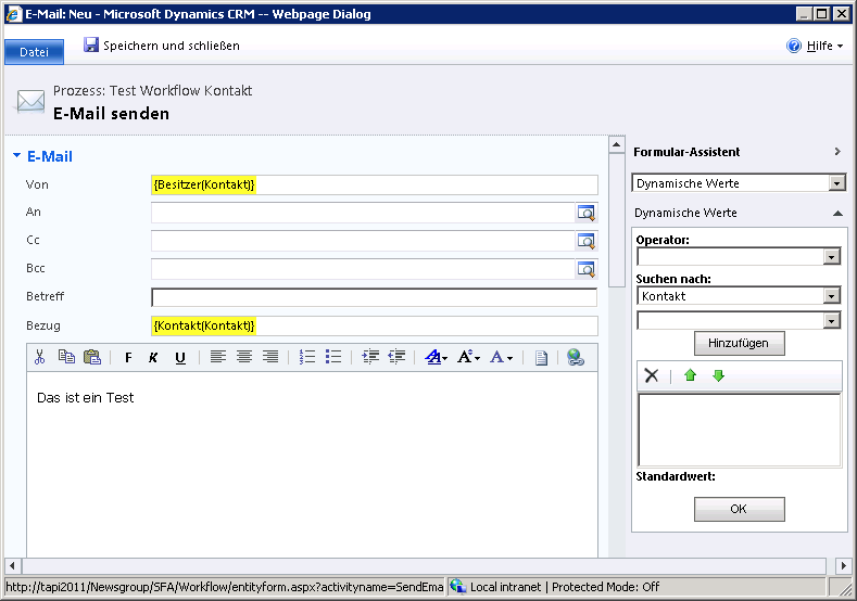 Workflow - Sender: Besitzer(Kontakt)