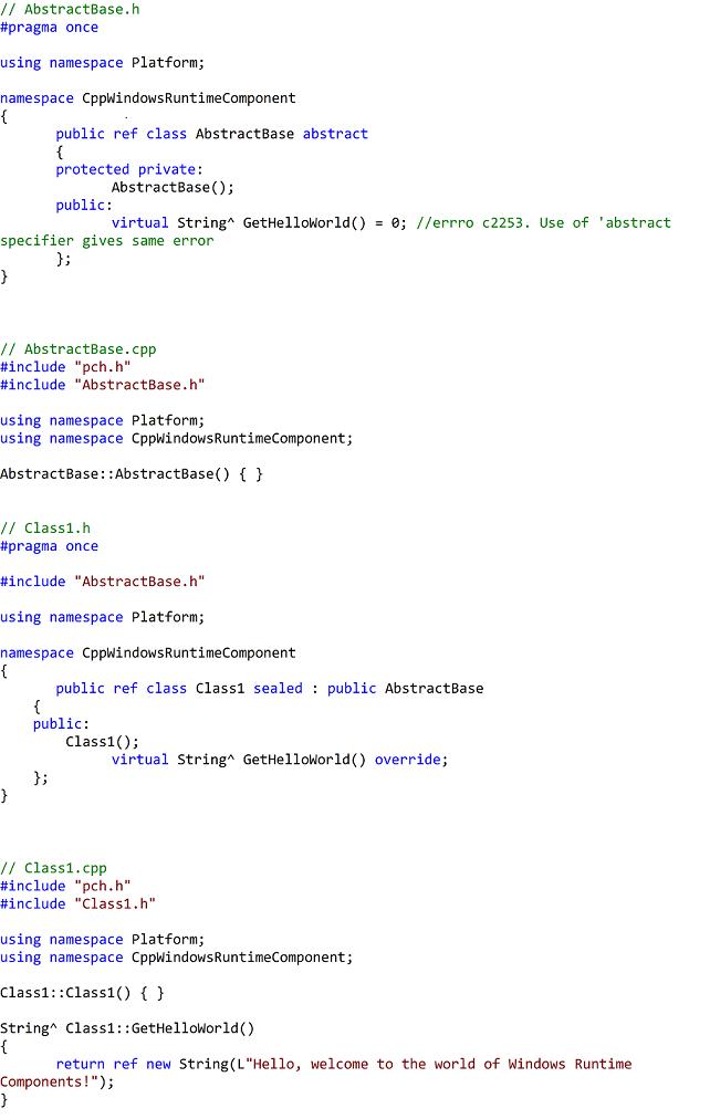 Component code