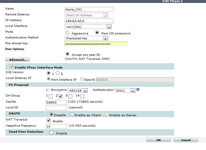 Azure virtual network, site to site VPN, Fortigate 110c Firewall