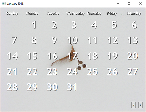 Screen shot of a program Calendar with Flickr Pictures