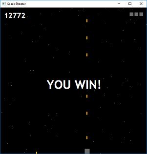 Screen shot of a program Space Shooter