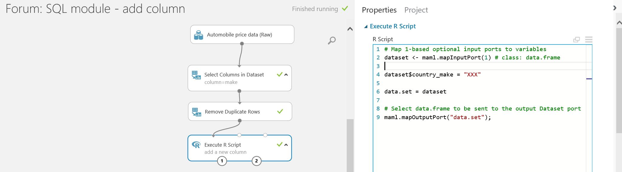 Adding a column via Apply SQL Transformation in Azure ML Studio