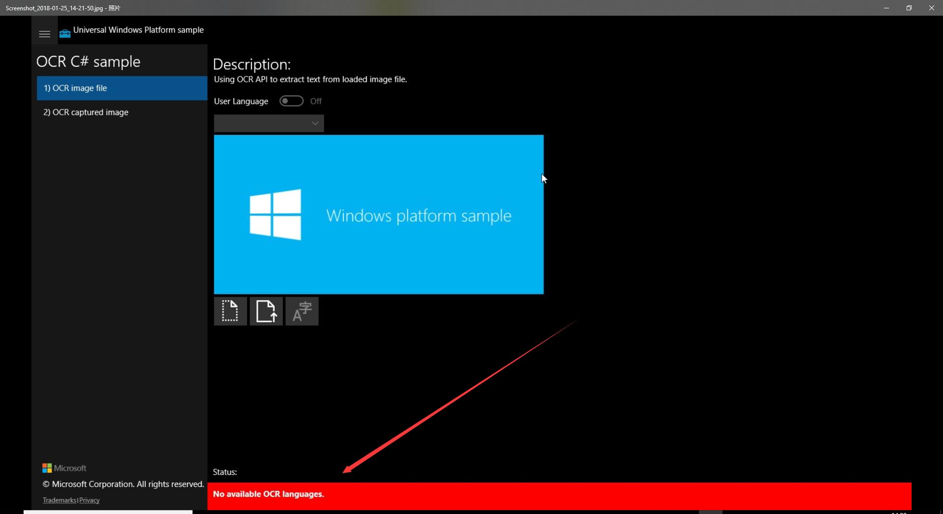 Using Windows::Media::Ocr on a Raspberry Pi 3