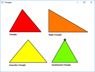 Screen shot of a program Triangles