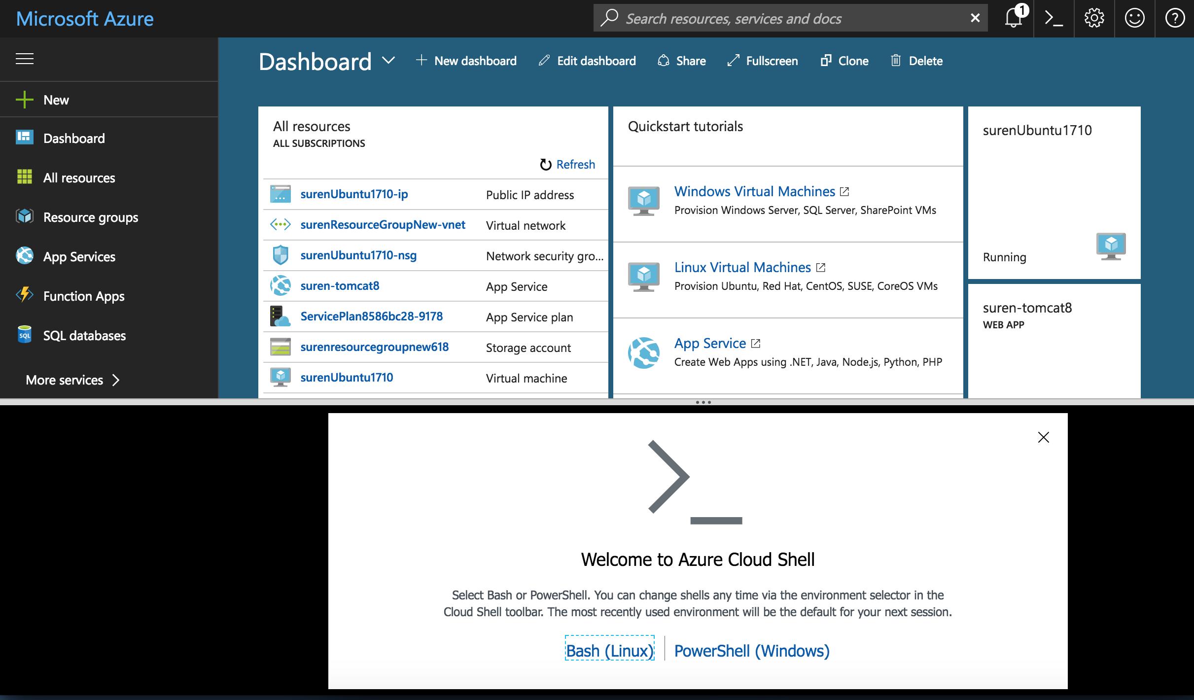 Create cloudshell option on new VM