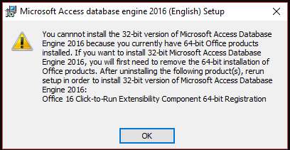 Microsoft Access Database Engine 2016 Redistributable won't