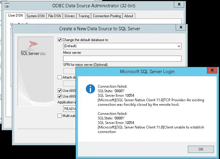 New ODBC Source to SQL Server Having Login issues