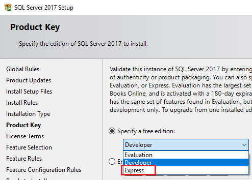SQL Server 2017 Express ISO