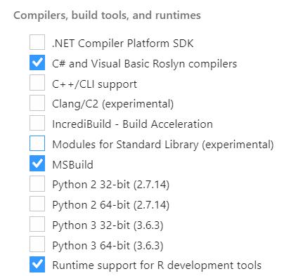 re visual studio 2017 compiler tools questions