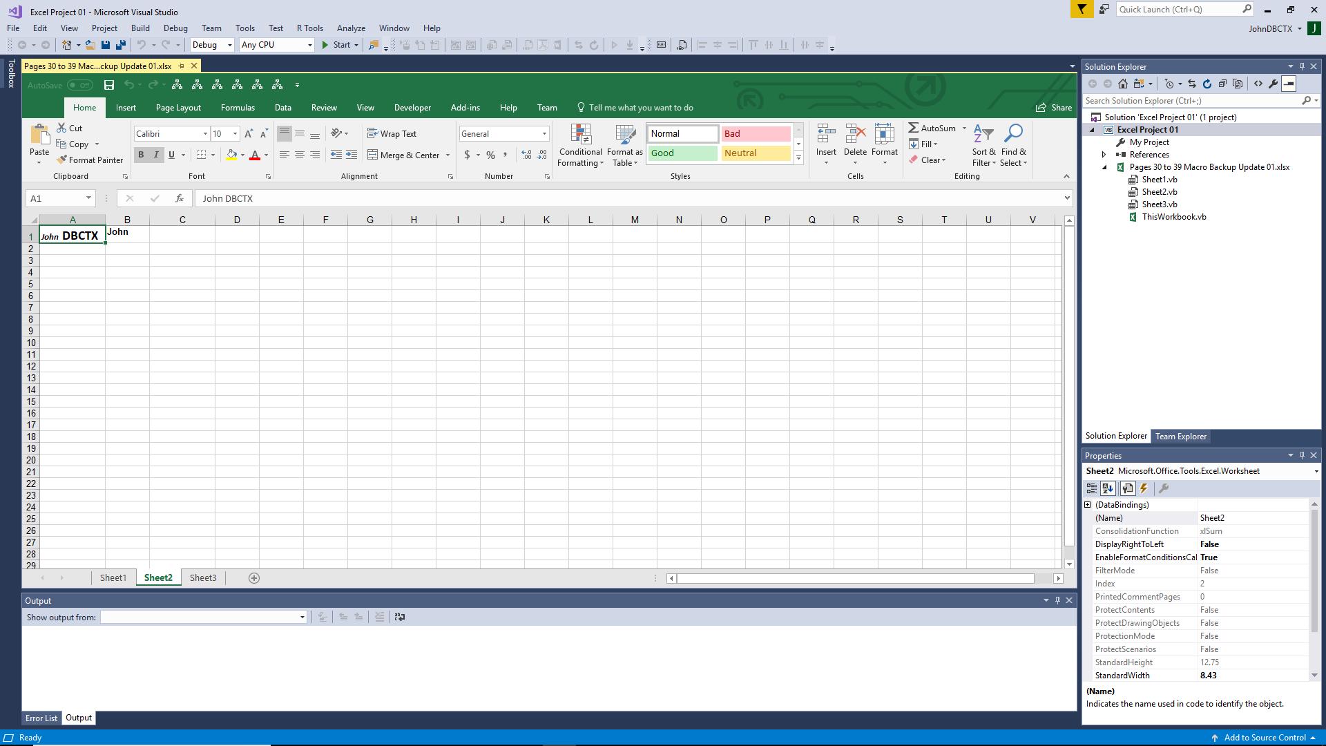 IDE displays the Excel VSTO plugin at design time.