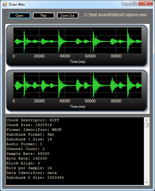 How to draw a WAV sound file Chart graph and get the header