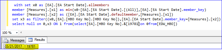 How to get Minimum date in MDX Query