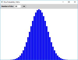 Screen shot of a program Dice Probability 0.1a