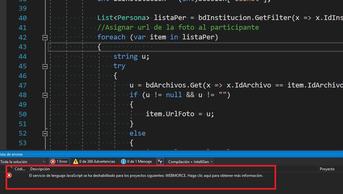 GravedadCódigoDescripciónProyectoArchivoLíneaEstado suprimido ErrorEl servicio de lenguaje JavaScript se ha deshabilitado para los proyectos siguientes: