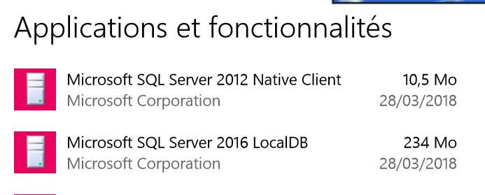 Versions SQL Server : 2012 Native Client - 2016 LocalDb