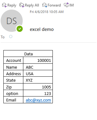 Parse Table in Email Body to Excel