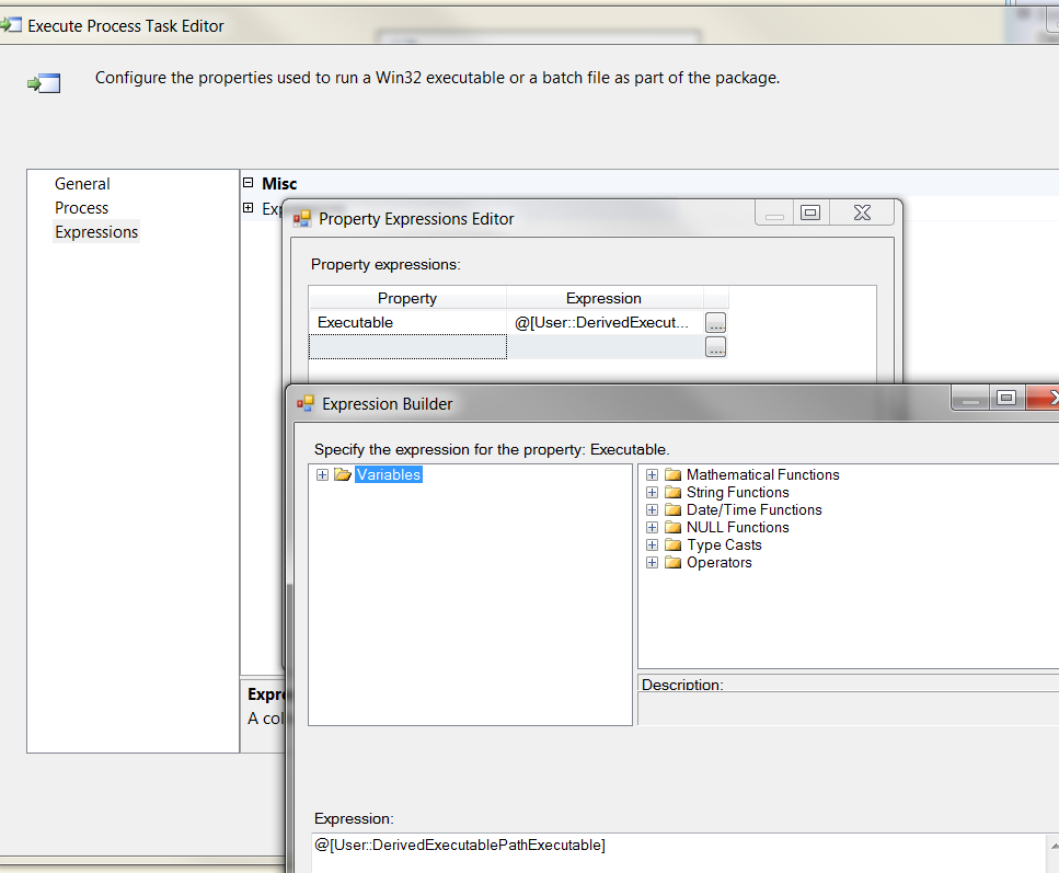 SSIS 2008 Execute Process Task Executable Dynamic From