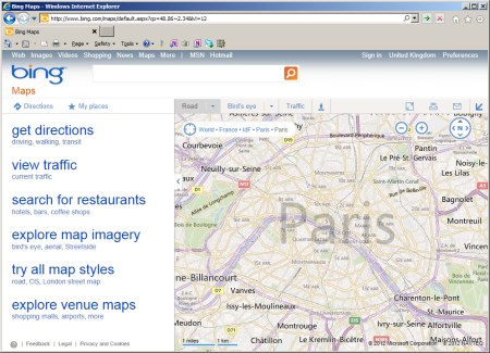 Bing Map centred on Paris