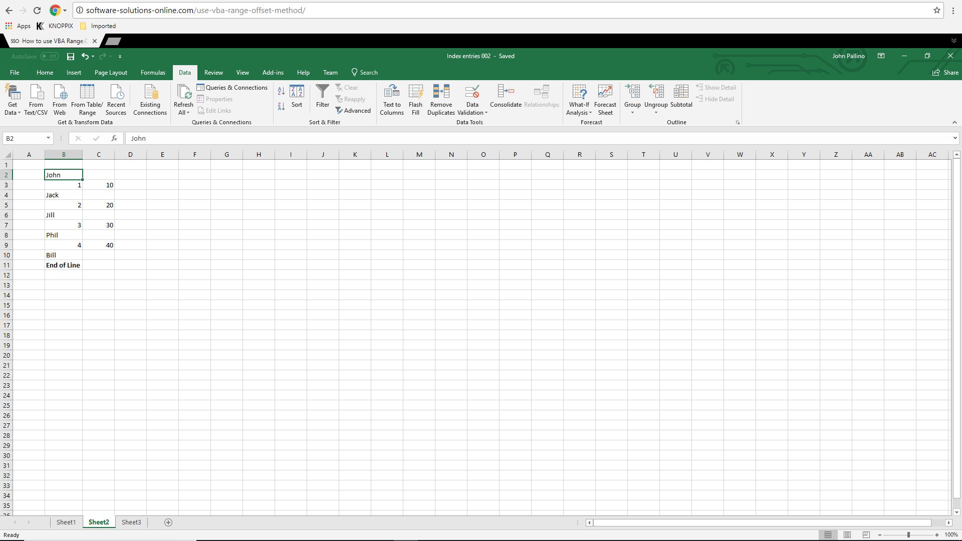 Excel VBA Screenshot