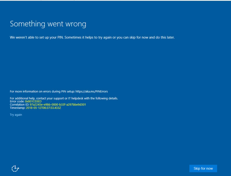 Windows Hello for Business PIN Provision Error 0x801C03ED