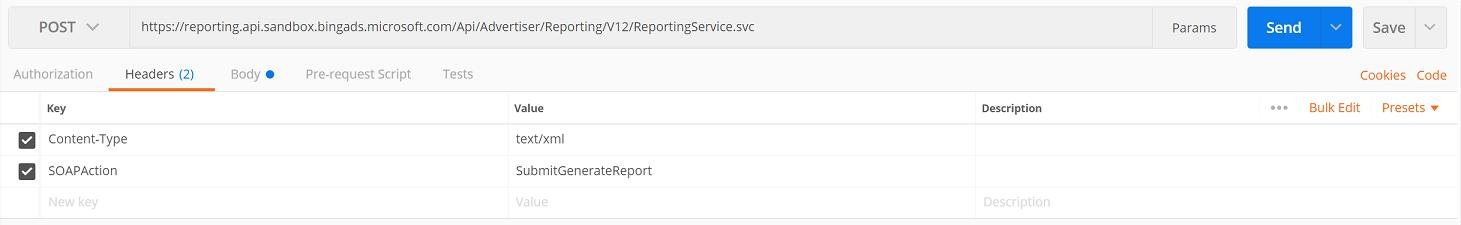 SubmitGenerateReport headers via Postman