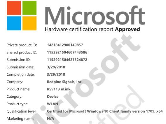 WLAN WHQL Certificate