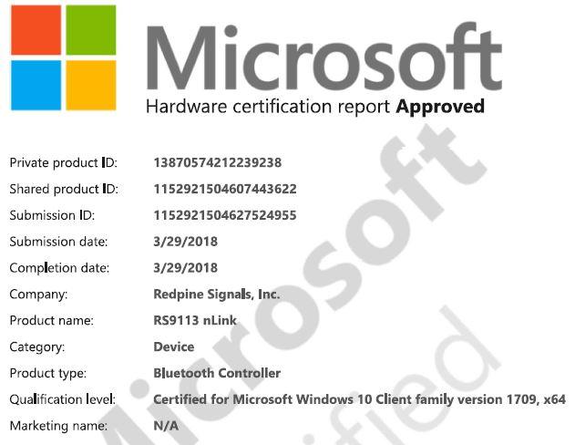 Bluetooth WHQL Certificate