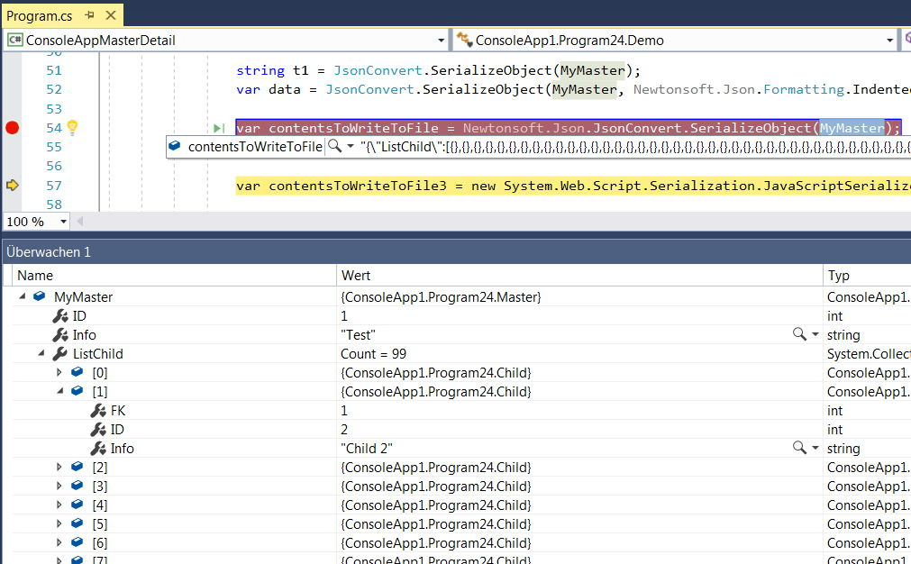 C# Serialize to JSON inside a text file, but the object is