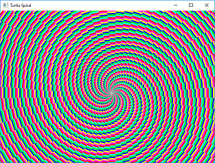 Screen shot of a program Turtle Spiral