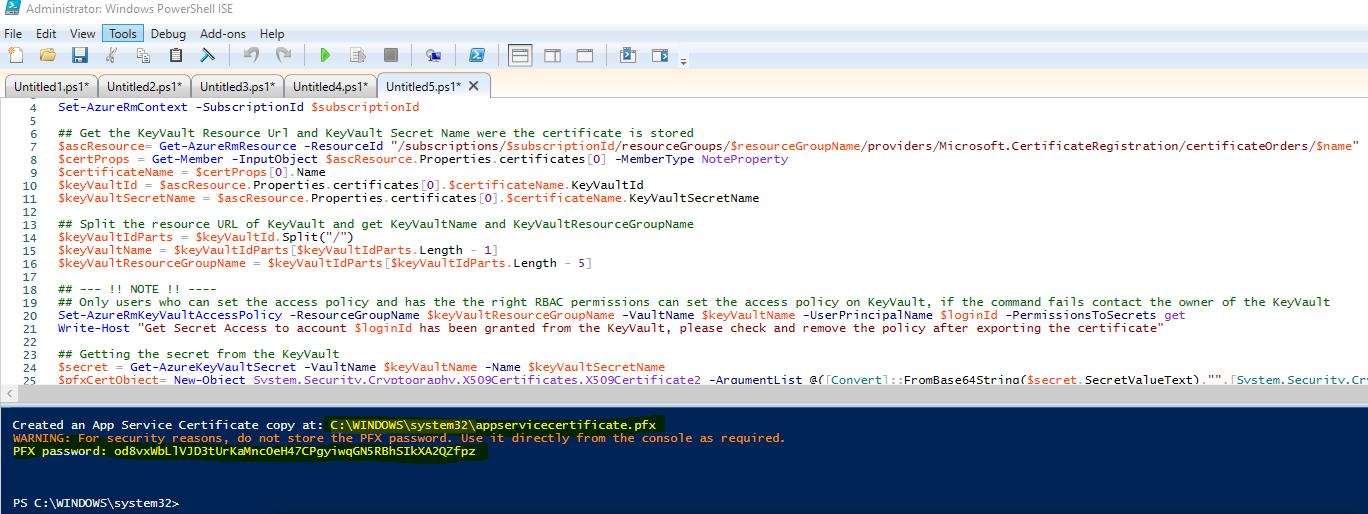 Cannot Create Local Pfx Copy Of Azure Ssl Cert