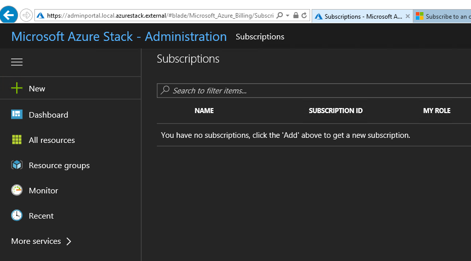 Adminportal - subscriptions - Default subscription is missing, no way to add a new one