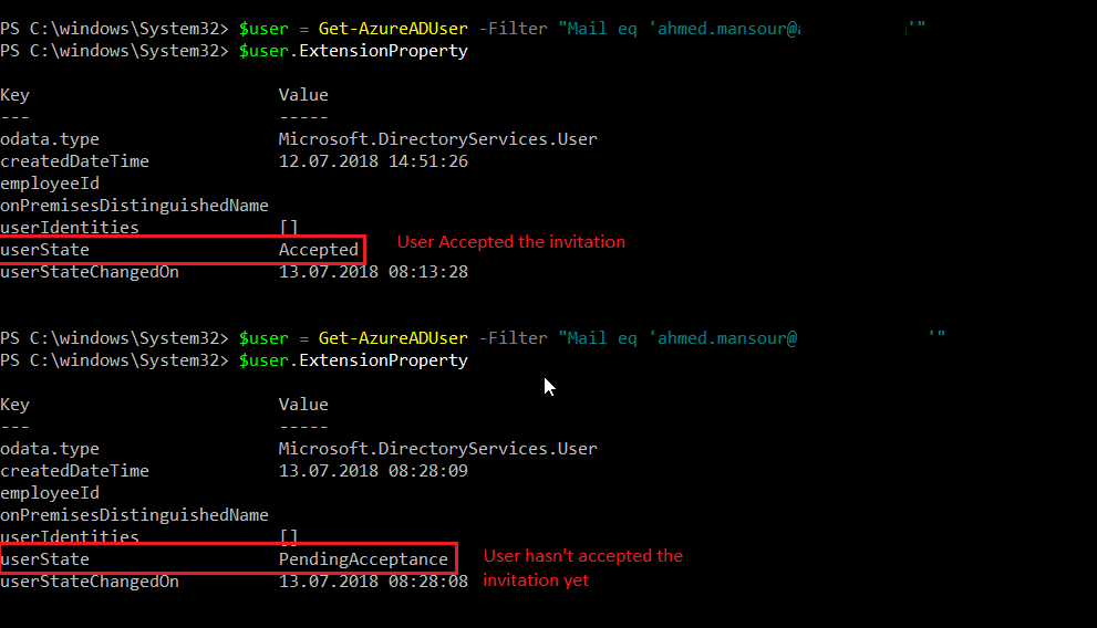 Find if azure ad guest invitation accepted via powershell its possible now using azure ad powershell module stopboris Choice Image