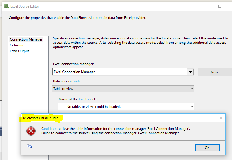 Ssis does not recognize excel spreadsheet sheets heres the debugging settings page of the ssis package ibookread