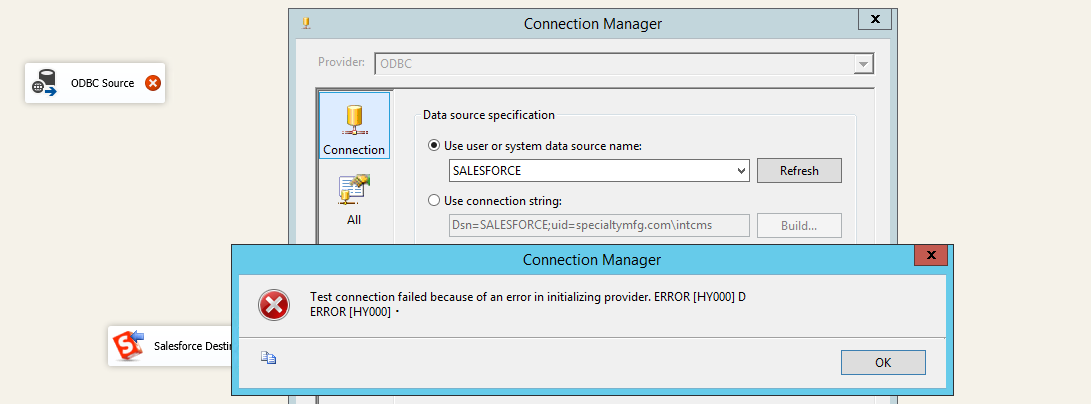 SSIS ODBC connection Error HY000