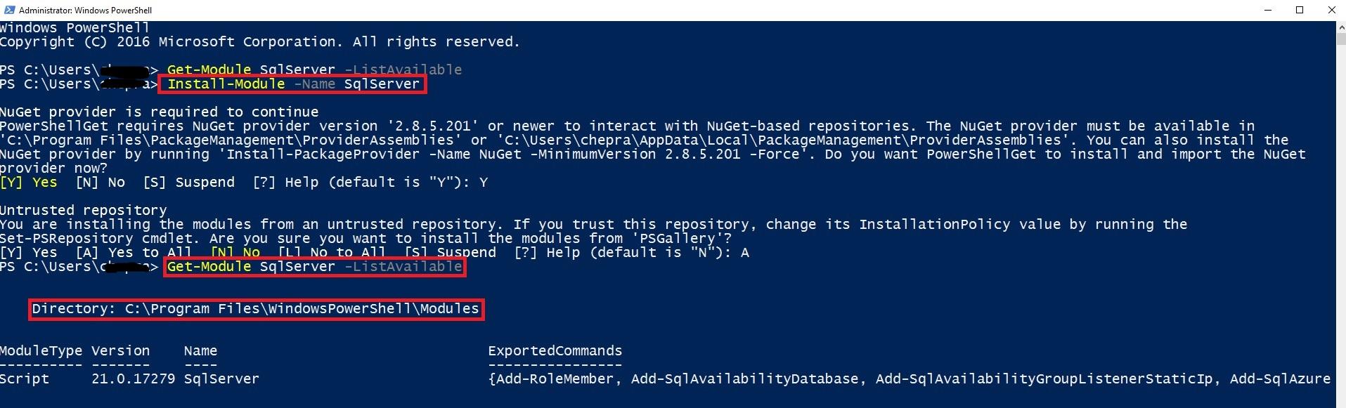 install sql server 2016 powershell module