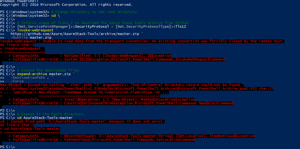 Azure Stack registration error