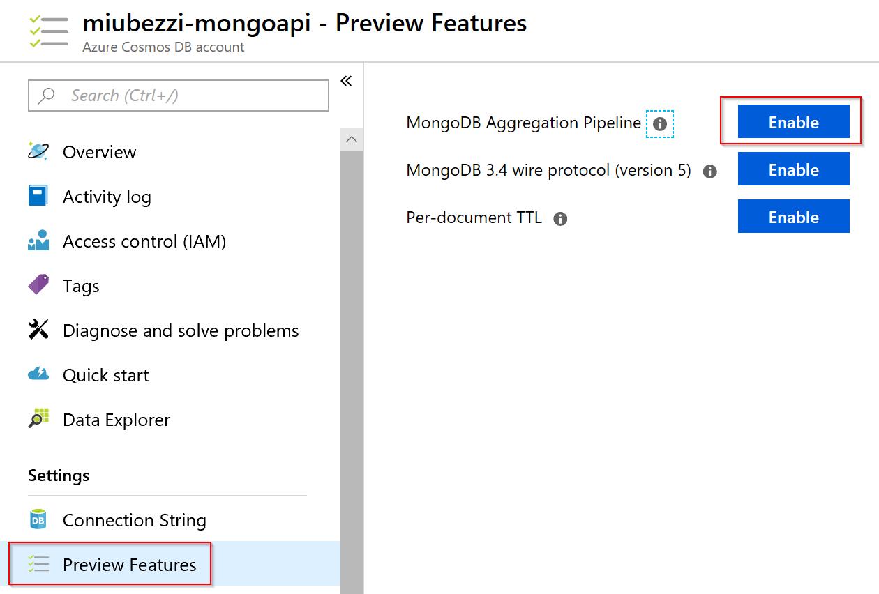 Cosmosdb mongodb api aggregate method doesn't work