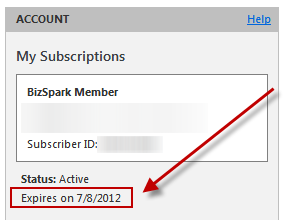 MSDN Account.My Subscriptions Dialogue: BizSpark Member, Status: Active, Expires on 7/8/2012