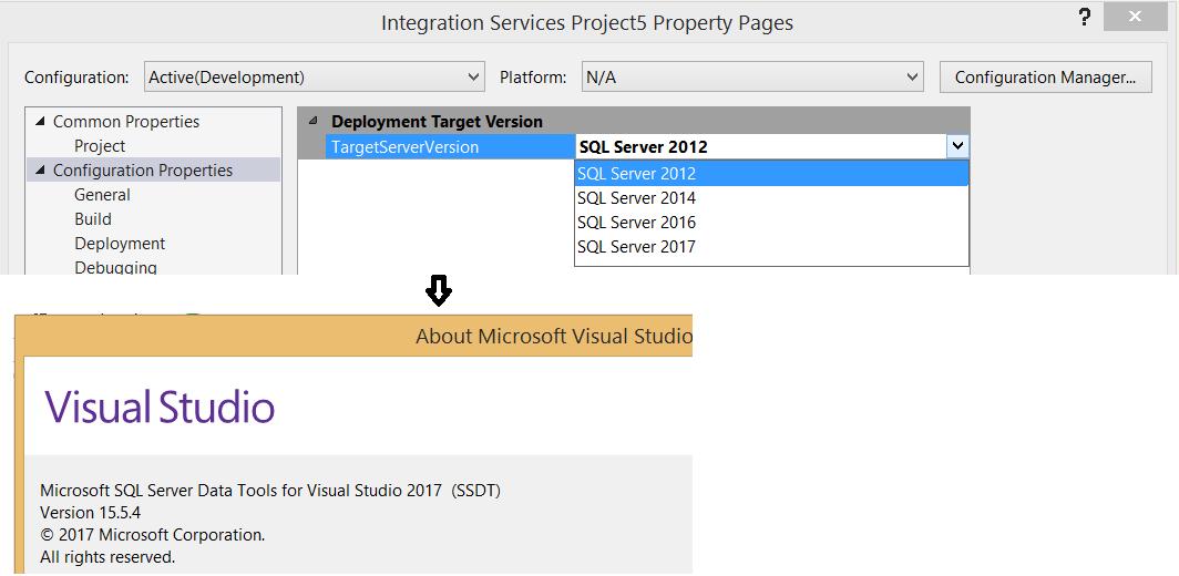 VS2017+SSDT - TargetServerVersion SQL Server 2012