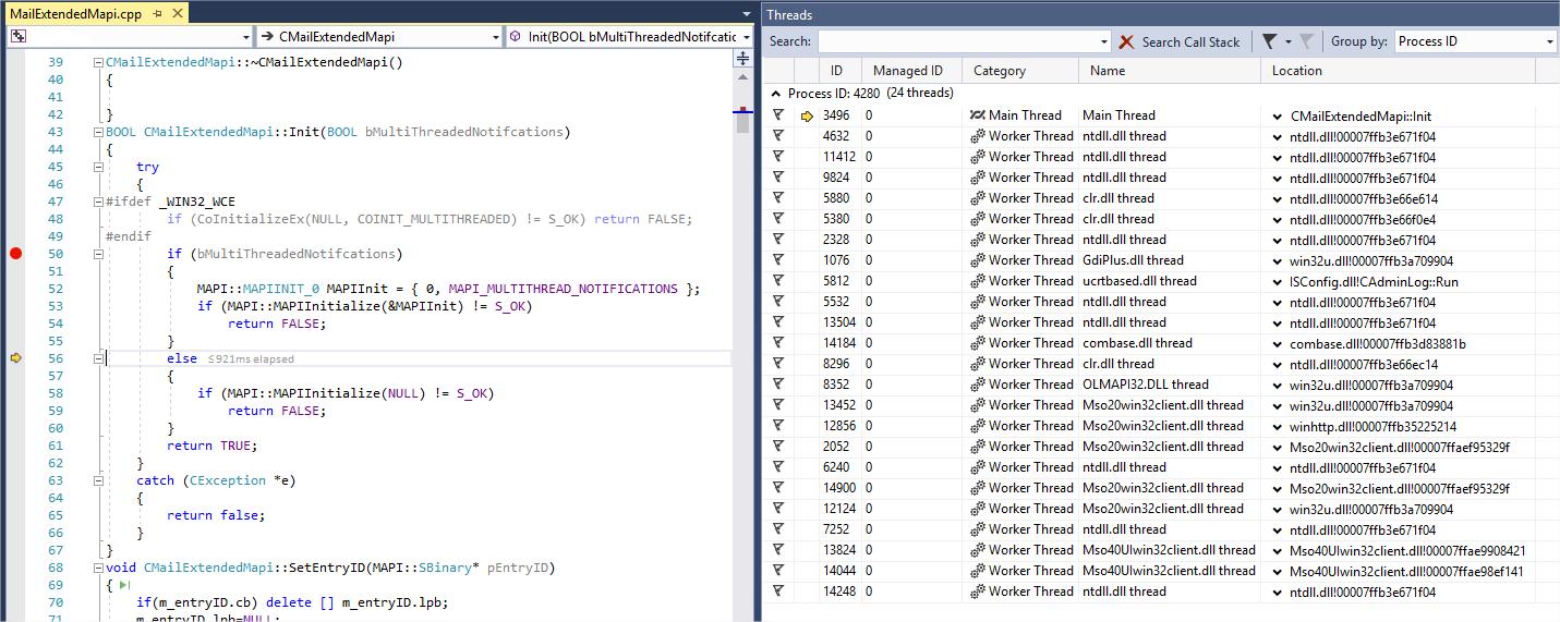 Crash initializing the MAPI (mapi extended or simple) using